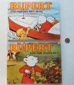 2 childrens books Rupert and the Secret Boat, Hazelnut Rupert the Bear 1989 BBC